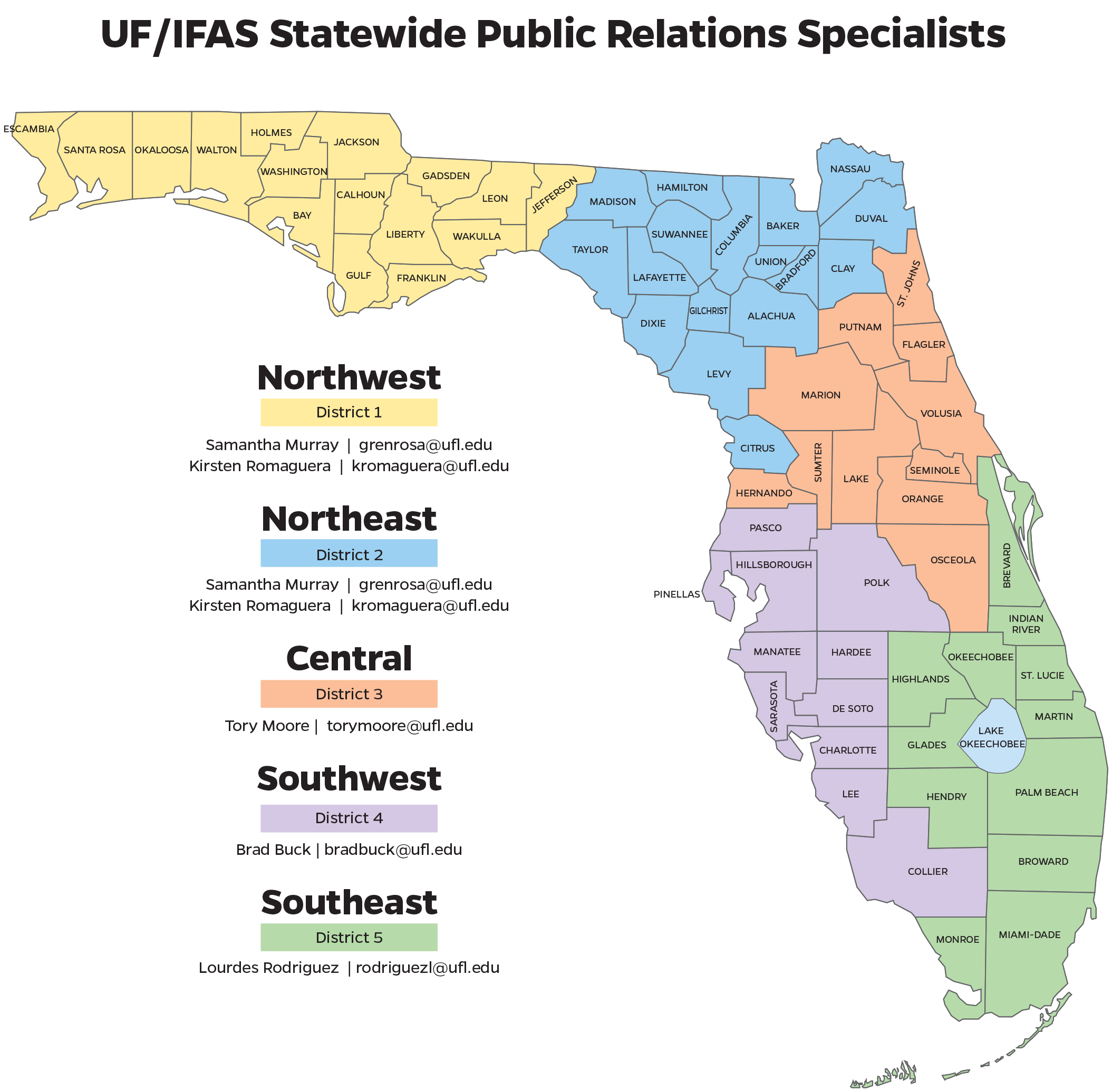 UF/IFAS PR Specialists Map